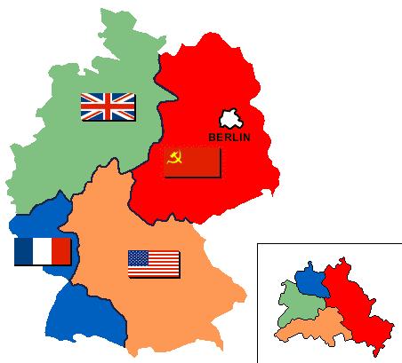 Duitsland en Berlijn, verdeeld in vier sectoren. Bron: Wikipedia