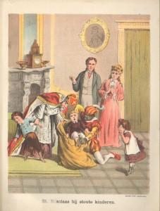 Het pedagogische aspect van Sint Nicolaas. In deze herdruk uit 1885 is de zwarte knecht uitgedost in kledij die wij vandaag de dag nog gebruiken. Dit in tegenstelling tot de uitdossing van de zwarte knecht in de eerste druk uit 1850.