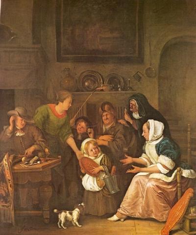 Jan Steen, Het Sint-Nicolaasfeest. Bron: Meesters der Schilderkunst - Jan Steen, door Karel Braun.