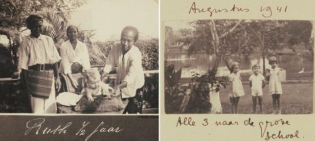 De 6 maanden oude Anne-Ruth en de Indonesische bedienden (links) en Anne-Ruth en haar zus en broer (rechts)