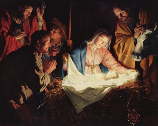 De aanbidding van Jezus door de herders. Schilder: Gerard van Honthorst. Bron: wikimedia commons