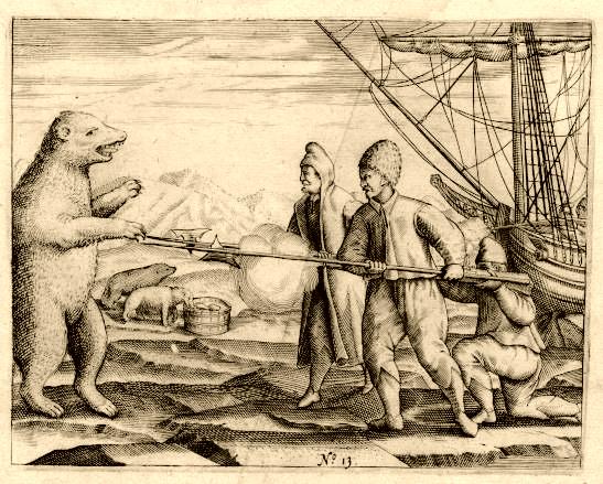 Mannen van Willem Barents weren een ijsbeer af. Bron: wikimedia.org.