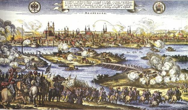 De inname van Maagdenburg in 1631, hier geschilderd door Johann Philipp Abelin,  staat symbool voor de verwoestingen tijdens de oorlog. Bron: Wikimedia Commons