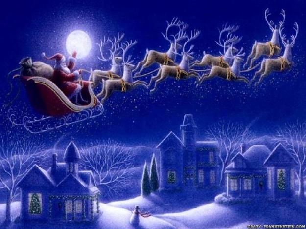 De kerstman in zijn arreslee. Bron: crazyfrankenstein.com