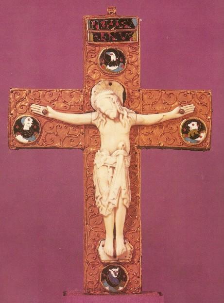 Jezus aan het kruis, Angelsaksische crucifix uit ca. 1000 na Chr. Bron: The Golden Age of Anglo-Saxon art 966-1066 (British Museum 1984) plaat XXVI.