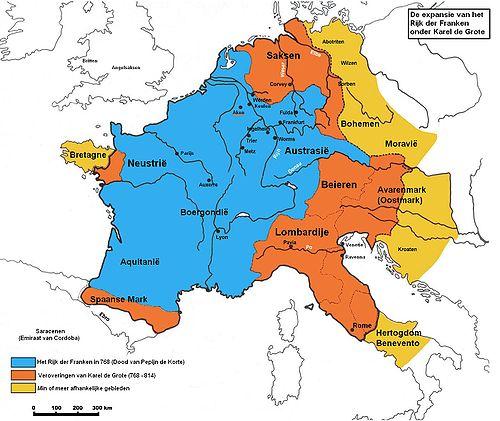 Expansie van het Frankenrijk onder Karel de Grote. Bron: wikipedia.