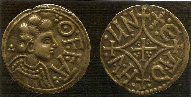 Zilveren penny van Offa, koning van Mercia.