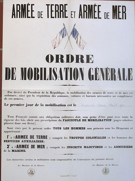 Franse mobilisatie 2 augustus 1914. Begin van de Eerste Wereldoorlog.