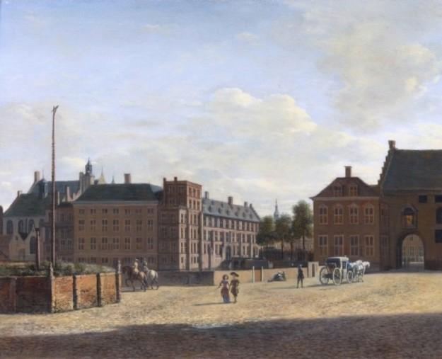 Links het Groene Zoodje, daarachter het Binnenhof en rechts de Gevangenpoort. bron: wikimedia.
