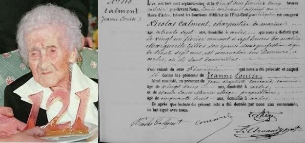 Jeanne Louise Calment, met 122 jaar de oudste mens ooit. Rechts haar geboorteakte uit 1875. (bron: wikimedia)