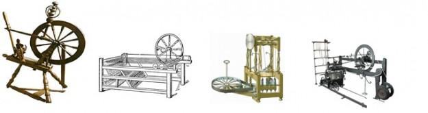 Het spinnenwiel, 'Spinning Jenny', een waterframe en de 'spinning mule'