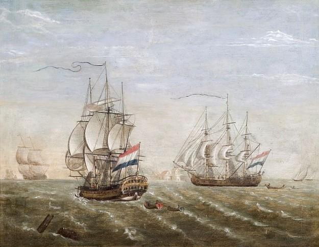 VOC schepen. Schilderij door Jan Voerman (1857-1941). Zeeuws maritiem muZEEum. Bron: wikimedia commons.