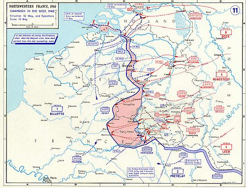 De Duitse opmars tot en met 16 mei; in roze de terreinwinst van de 15e en de 16e tot ongeveer 12:00. bron: wikimedia