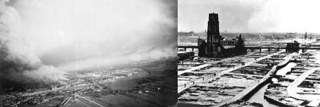 Rotterdam op 14 mei 1940, en na het bombardement