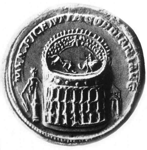Op een munt van Gordianus III (238-244) staat de Colossus van Nero buiten het amfitheater.
