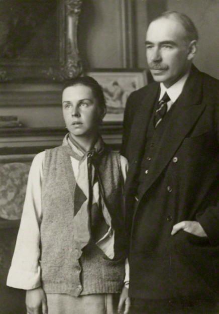 Keynes en zijn vrouw Lydia Lopokava. Bron:  wikimedia.org