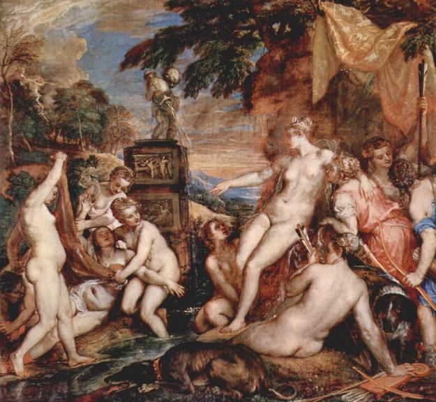 Diana en Callisto (1559) door Titiaan (1487-1576). Bron: en.wikipedia.org/wiki