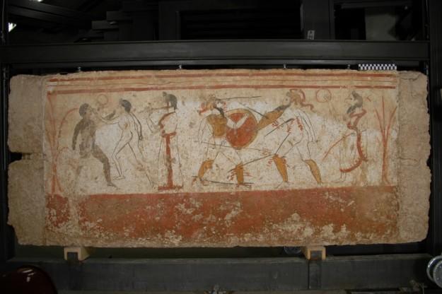 Paestum, 350 v. Chr. Frescoschildering uit een graf bij Paestum (Zuid-Italië). Foto: Gallo-Romeins Museum Tongeren. Bruikleengever : Paestum, Nationaal Archeologisch Museum.
