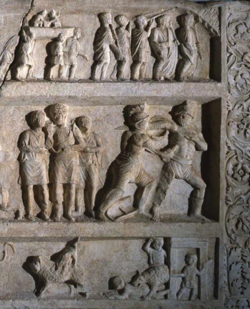 Pompeï, 20-50 n. Chr. In drie lagen zijn de belangrijkste onderdelen van een dagprogramma in een amfitheater te zien. De centrale scène toont gladiatorengevechten. Foto: GRM. Bruikleen : Napels, Nationaal Archeologisch Museum