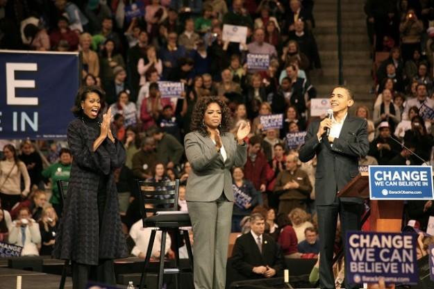 2008: Oprah Winfrey voert campagne voor Obama (bron: Wikimedia)
