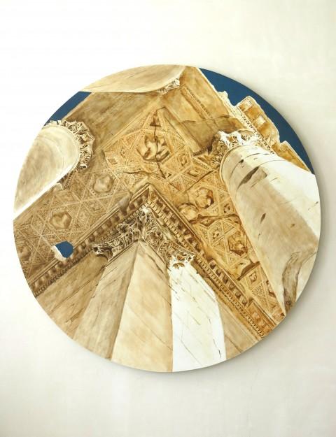 PERSFOTO Tentoonstelling ´Baalbek bewonderd´, plafond peristyle van de Bacchustempel, door Teun van Staveren. bron: perskit Rijksmuseum