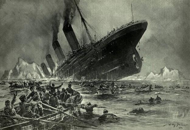 'Der Untergang der Titanic' door Willy Stöwer (1912) (bron: Wikimedia)