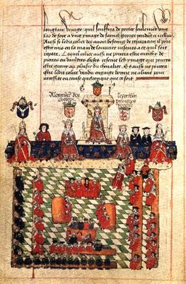 Eduard I zit hier in het midden tussen de prins van Wales en de koning van Schotland (bron: Wikimedia)