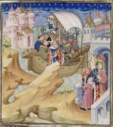 Isabella (rechts met de kleine Eduard III) neemt haar man (links/midden) gevangen (bron: Wikimedia)