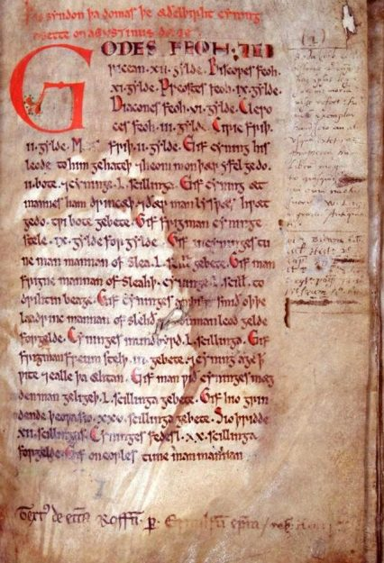In de twaalfde-eeuwse Textus Roffensis zijn de wetten opgenomen die Wihtred uitvaardigde. Bron: wikimedia.