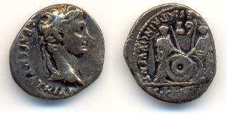 Denarius van keizer Augustus (geslagen 4 n.Chr.). Bron: door I, Goodies, CC BY 2.5, https://commons.wikimedia.org