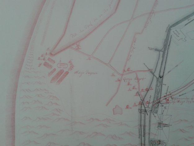 Detail van de kaart met Huis Duinen links van het midden. NL-HaNA4.WCA_DUBB70494)